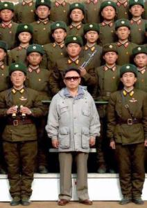 Kim Jong Il with soldiers